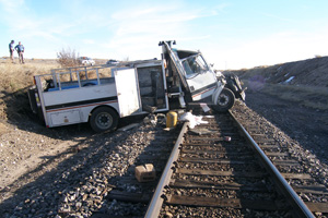 Tractor Trailer on Railroad Tracks